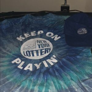 New York Lottery Tie due T shirt and Hat